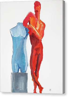 Canvas Print featuring the painting Dancer With Mannekin by Shungaboy X