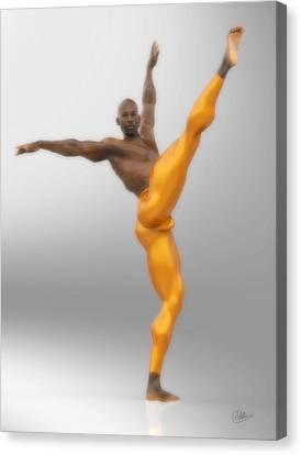 Dancer With Orange Leotards Canvas Print by Joaquin Abella
