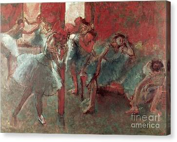 Ballet Dancers Canvas Print - Dancers At Rehearsal by Edgar Degas