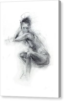Black And White Human Figure Drawing Canvas Print - Dancer's Gaze by Christopher Williams