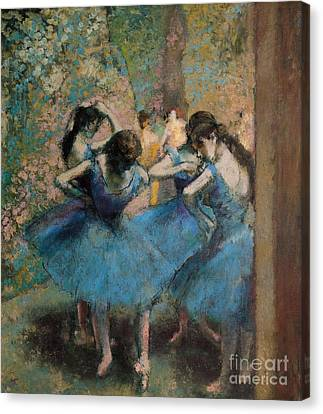 Dancers In Blue Canvas Print by Edgar Degas