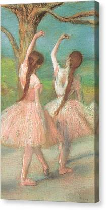 Dancers In Pink Canvas Print by Edgar Degas