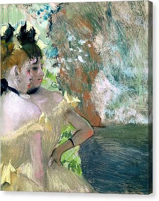 Dancers In The Wings  Canvas Print by Edgar Degas