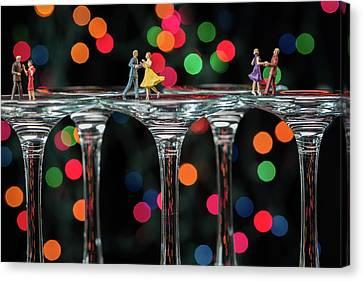 Dancers On Wine Glasses Canvas Print
