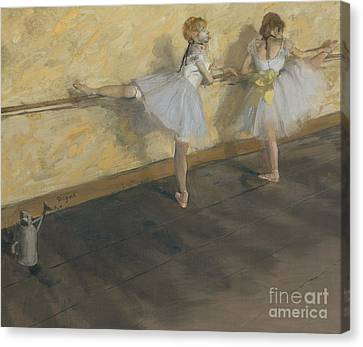 Dancers Practising At The Barre, 1877 Canvas Print by Edgar Degas