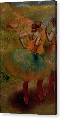 Dancers Wearing Green Skirts Canvas Print by Edgar Degas