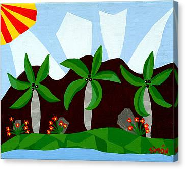 Dancin Palms Canvas Print by Lourdes  SIMON