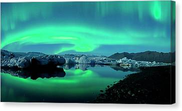 Canvas Print featuring the photograph Dancing Auroras Jokulsarlon Iceland by Brad Scott