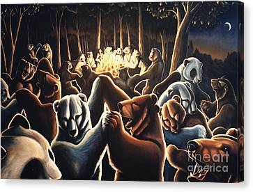 Dancing Bears Painting Canvas Print by Kim Hunter