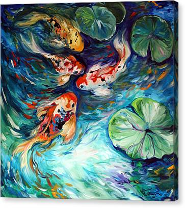 Dancing Colors Koi Canvas Print by Marcia Baldwin