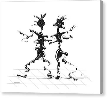 Canvas Print featuring the digital art Dancing Couple 2 by Manuel Sueess
