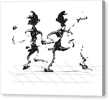 Canvas Print featuring the digital art Dancing Couple 3 by Manuel Sueess
