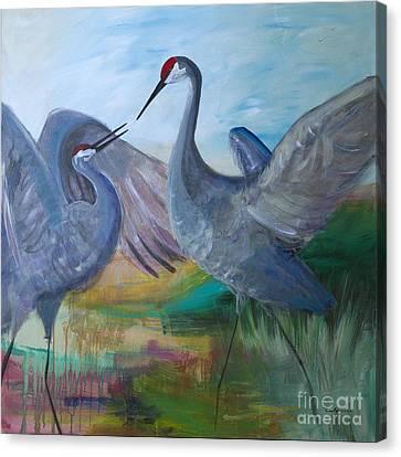 Dancing Cranes Canvas Print