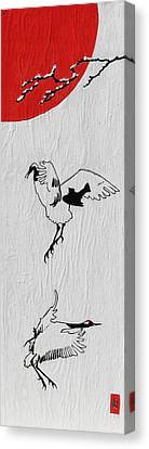 Dancing Cranes Canvas Print by Stephanie Grant