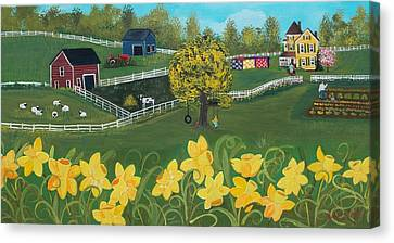 Canvas Print featuring the painting Dancing Daffodils by Virginia Coyle