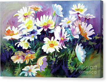 Canvas Print featuring the painting Dancing Daisies by Kathy Braud