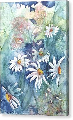 Canvas Print featuring the painting Dancing Daisies by Renate Nadi Wesley