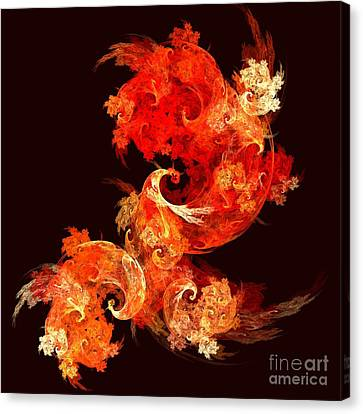 Modern Digital Art Canvas Print - Dancing Firebirds by Oni H