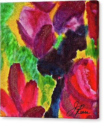 Canvas Print featuring the painting Dancing Flowers by Joan Reese