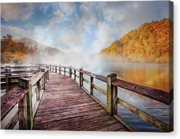 Canvas Print featuring the photograph Dancing Fog At The Lake by Debra and Dave Vanderlaan