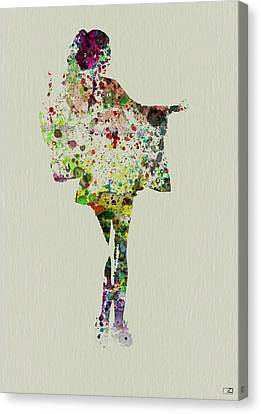 Dancing Geisha Canvas Print by Naxart Studio