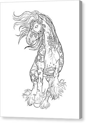 Dancing Gypsy Horse Zentangle Canvas Print by Cindy Elsharouni