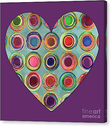 Canvas Print featuring the painting Dancing In Circles Heart by Carla Bank