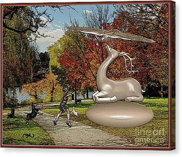 Dancing In Front Of The Statue Of The Deer 3 Canvas Print by Pemaro