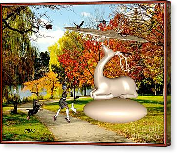 Dancing In Front Of The Statue Of The Deer 44 Canvas Print by Pemaro