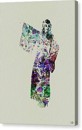 Dancing In Kimono Canvas Print by Naxart Studio