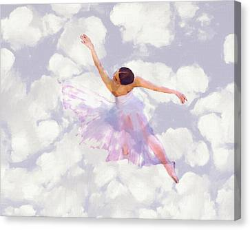 Ballet Dancers Canvas Print - Dancing In The Clouds by Steve K