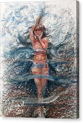 Canvas Print featuring the painting Dancing In The Water  by Laila Awad Jamaleldin