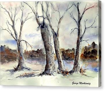 Dancing In Winter Canvas Print by George Markiewicz