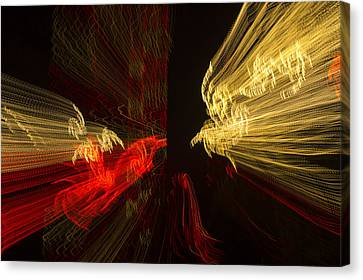 Dancing Lights 2 - Up Against A Barrier Canvas Print by Penny Lisowski