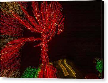 Dancing Lights 6 - Palm Tree Canvas Print by Penny Lisowski