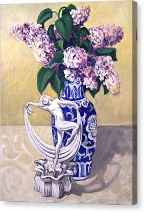Canvas Print featuring the painting Dancing Lilacs by Laura Aceto