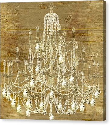Candle Lit Canvas Print - Lit Chandelier Gold by Mindy Sommers