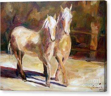 Dancing Palomino Horses Canvas Print by Xx X