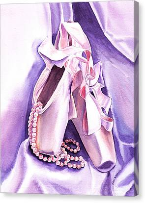 Dancing Pearls Ballet Slippers  Canvas Print by Irina Sztukowski