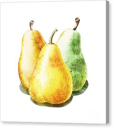 Country Kitchen Canvas Print - Dancing Pears by Irina Sztukowski