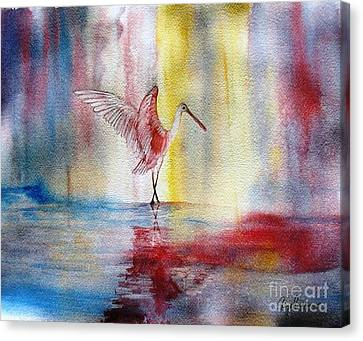 Dancing Roseate Spoonbill Canvas Print by Georgia Johnson