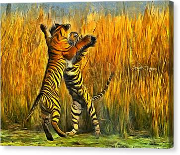 Mascots Canvas Print - Dancing Tigers - Da by Leonardo Digenio