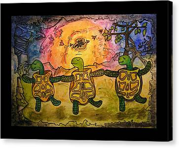 Dancing Turtles Canvas Print by Mimulux patricia no No
