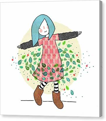 Dancing With Leaves Canvas Print by Carolina Parada