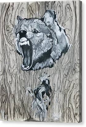 Dancing With The Spirit Of The Wolf Canvas Print by KeMonee Casey