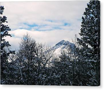 Dancing Woman Mountain In The Winter Canvas Print