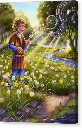 Clearing Canvas Print - Dandelion - Make A Wish by Anne Wertheim