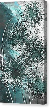 Dandelion Overwhelm - Turquoise And Gray Modern Art Canvas Print by Lourry Legarde