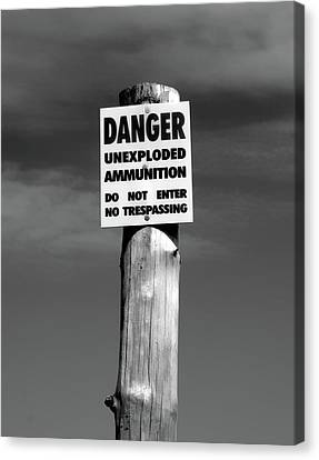 Danger In Black And White Canvas Print by Barbara McMahon