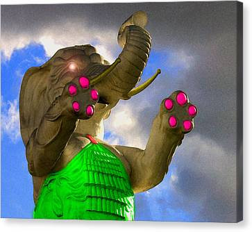 Canvas Print featuring the digital art Dangerous Elephant by Timothy Bulone